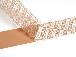 Tamper evident OPEN VOID tape brown