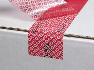Tamper evident tape red with standard top print